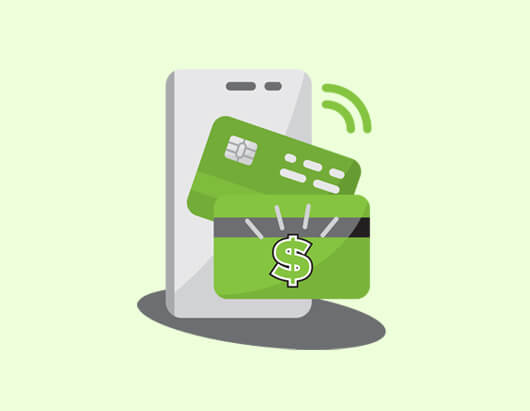 Credit card and phone tapping to pay icon